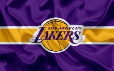 Download wallpapers Los Angeles Lakers, basketball club, NBA, emblem, new logo, USA, National Basketball Association, silk flag, basketball, Los Angeles, California, US basketball league, Pacific Division