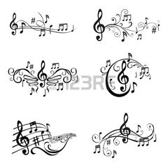 Set Musical Notes Illustration in Vektor Lizenzfreie Bilder