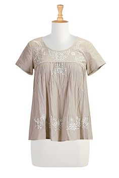 I <3 this Floral embellished crinkled voile top from eShakti  -  shirt, blouse, light weight, embroidery, tan, tailor.        lj