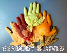 Fill gloves with different textured items: peas, cooked oatmeal, rice, ice - etc. looks like fun and Ive got a whole box of latex gloves in the garage! Baby Sensory, Sensory Activities, Sensory Play, Preschool Activities, Stem Preschool, Sensory Motor, Toddler Play, Baby Play, Toddler Preschool