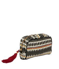 pochette jacquard ethnique avec pompon nolya noirblanc cassrouge etam