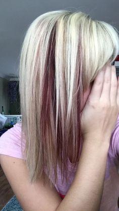 Blonde hair with red peekaboos                                                                                                                                                                                 More