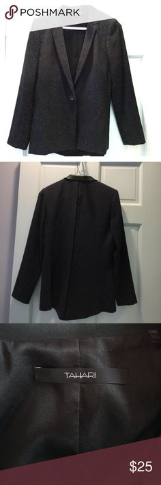 Sharp Tahari blazer with black faux leather collar One button, partially lined blazer. Black mesh detail down the back of the blazer. Navy, black and white. Elie Tahari Jackets & Coats Blazers