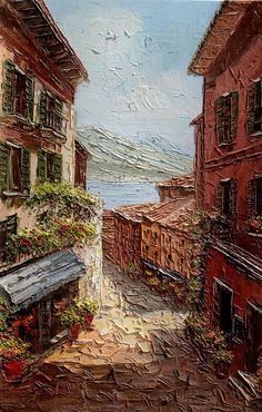 The Quiet Afternoon 23 x 36 Original Oil Painting Palette Knife Cityscape  Village Sunny Street Shadows Sea Mediterranian ART by Marchella