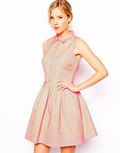 Buy ASOS Skater Dress With Textured Spot at ASOS. With free delivery and return options (Ts&Cs apply), online shopping has never been so easy. Get the latest trends with ASOS now. Skater Dress, Dress Skirt, Shirt Dress, Summer Dresses For Women, Dresses For Work, Sunday Clothes, Asos, Box Pleat Skirt, Fit And Flare