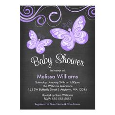 Chalkboard Purple Butterfly Swirls Baby Shower Card