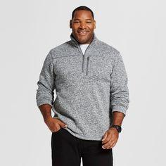 Men's Big & Tall Quarter Zip Fleece Sweatshirt Gray Xxxl Tall - Merona