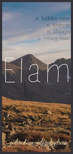 Baby Boy Name: Elam (ee-lum). Meaning: Hidden Time; Forever; Always; Young Man. Origin: Hebrew. Also an Assyrian word meaning High. https://www.pinterest.com/vintagedaydream/baby-names-by-me-vintagedaydream/?eq=baby&etslf=3344