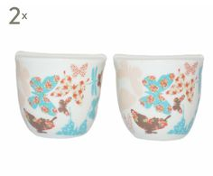 Set de salero y pimentero de porcelana Butterfly - multicolor