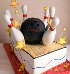 bowling ball cakes, cake idea, bowling birthday, food, bowl cake, themed cakes, bowl parti, bowling party cake, birthday cakes