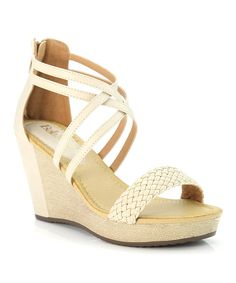 Look at this Bella Marie Beige Cross-Strap Wedge Sandal on #zulily today!