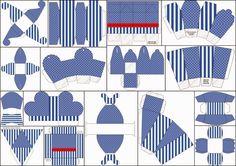 Rayas Azules y Lunares Blancos: Cajas para Imprimir Gratis.
