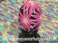 Pink Flowers on a black background. Real Chicken Egg hollowed and dyed with wax resist technique QEG041 – Tamm's Marketplace