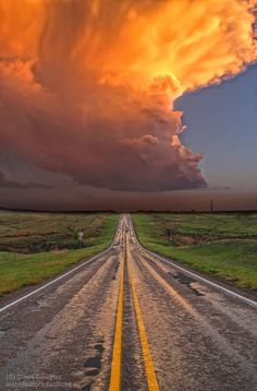 Thunder Road ~ Storm in the Texas Panhandle, Just South of Groom, Texas Beautiful World, Beautiful Places, Grande Route, Amazing Nature, Wonders Of The World, Nature Photography, Scenic Photography, Landscape Photography, Night Photography