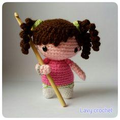 Amigurumi big head doll plush crochet toy