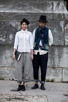 this couple has the cutest style ever! japanese always seem to dress up in a way that expresses themselves so well.