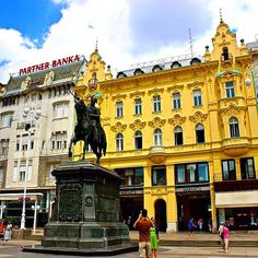 Ban Jelačić Square is the central square of the city of Zagreb, Croatia.  ____________________  The 17th Century square was named for & has a statue of ban Josip Jelačić.  In the mid-1800's, Croatia was under the rule of Austria. In order to obtain & pers