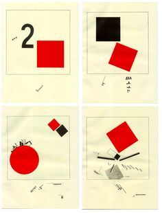 The Story of Two Squares, 1922: 'Progenitor' of information design, Russian artist, designer, photographer and typographer Lazar Markovich Lissitzky, more commonly referred as EL Lissitzky. During the early 1920s, he designed three books which could be now considered as the early stages of information design. In these books, he introduced the concept of visual programme and functional design, working with shapes and colours purposefully organised and creating a visual unity throughout the pages.