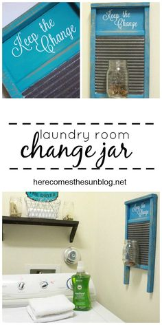 This adorable laundry room change jar will keep your change out of the washer and in your bank account where it belongs! #stylebymethod #clevermethod