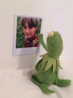 kermit x bts Bts Suga, Kpop, Sapo Meme, Bts Meme Faces, Kermit The Frog, Cute Memes, Yoonmin, Reaction Pictures, Bts Boys