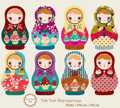 Matryoshka high quality SET 01 6 inch Clip Art by KangByeol. , via Etsy. Matryoshka Doll, Kokeshi Dolls, Paper Dolls, Art Dolls, Thinking Day, Russian Art, Bunt, Retro Vintage, Creations