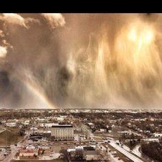 Beautiful Oklahoma weather. Love the rainbow in the bottom left corner. :)