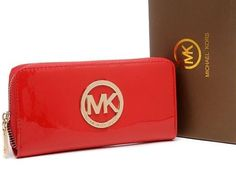 Michael Kors Red Classics Glisten Wallets