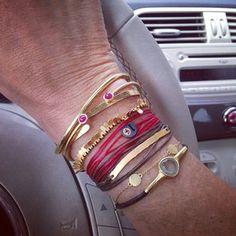 Ines de la Fressange's bracelets: emmanuelle zysman, adelline, apriati , babybuddha...
