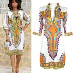 Women lady Summer Dress Casual African Print Party Dresses Plus Size Deep V-Neck African Print Dresses, African Fashion Dresses, African Attire, African Wear, African Dress, African Style, African Women, Summer Dresses Uk, Party Dresses For Women