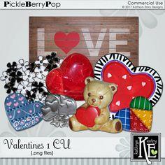 Valentine 1 CU Digital Scrapbooking Supplies by Kathryn Estry @ PickleberryPop    $4.99