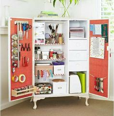 From armoire to craft/office/entertainment center/storage space... Genius!