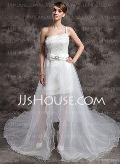 Wedding Dresses - $162.99 - A-Line/Princess One-Shoulder Asymmetrical Satin Tulle Wedding Dress With Beadwork Sequins (002024076) http://jjshouse.com/A-Line-Princess-One-Shoulder-Asymmetrical-Satin-Tulle-Wedding-Dress-With-Beadwork-Sequins-002024076-g24076