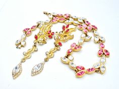 Vintage Pink Rhinestone Necklace Earrings Set Clip Clear Fashion Wedding Jewelry