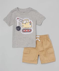 Kids Headquarters Gray Wrecking Ball Tee & Cargo Shorts - Infant, Toddler & Boys | zulily