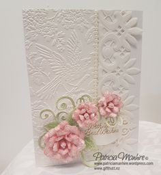 Welcome Back When I make new designs I often make several cards using the same theme and flowers and this one is another card I made using the lovely lace edge die from Spellbinders, and I have tea…