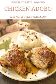 Instant Pot Chicken Adobo | Pressure Cooker Chicken Adobo | Instant Pot Filipino | Filipino Chicken Recipe | Chicken Adobo | Chicken Adobo Recipe | Keto Chicken Adobo | Low Carb Chicken Adobo | Instant Pot Recipes | TwoSleevers | #twosleevers #instantpot #chickenadobo #filipinofood #ketorecipes