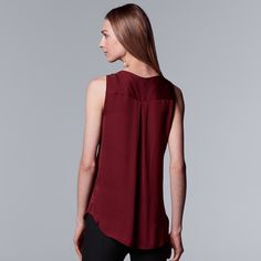 83423e96ace2 Women s Simply Vera Vera Wang Pleated Splitneck Tank  Vera