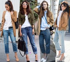 How to wear boyfriend jeans in the spring? they are perfectly adapted to the warmth of May when paired with a jacket or a trench coat and a shirt or blouse