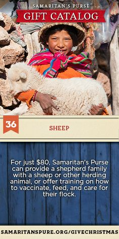 Your gift can provide a shepherd family with a sheep or training to vaccinate, feed and care for their flock
