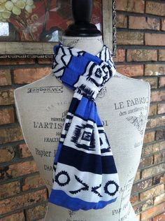 Black & Blue Tribal design infinity scarf, soft jersey boho scarf, aztec design infinity scarf on Etsy, $17.00