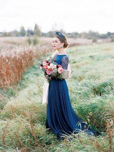 bride in blue