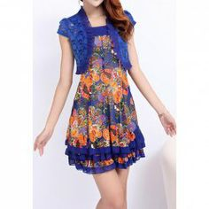$15.46 Casual Style Splicing Floral Print Flounce Twinset Dress For Women