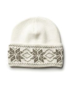 368eec1d3c406 Icelandic Rose Pattern Wool Hat White Brown - Wool Accessories - Nordic  Store Icelandic