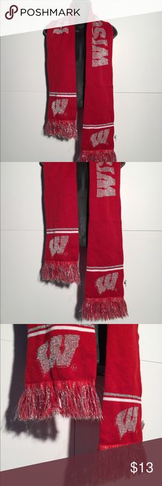 Wisconsin Badgers Women's Sparkly Scarf Women's  Wisconsin Badgers  NCAA  Sparkly Glitter Frilly  Scarf Excellent condition   Thank you! Vintage Accessories Scarves & Wraps