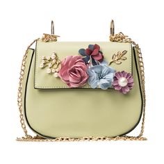 Flowers Saddle bag 2017 Mini Beading Floral Sweet Crossbody bag Fashion Chain Messenger bag Women Shoulder bag Luxury Designer