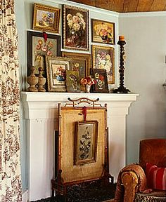 ⋴⍕ Boho Decor Bliss ⍕⋼ bright gypsy color & hippie bohemian mixed pattern home decorating ideas - vintage floral paintings over mantel English Cottage Style, English Country Cottages, English Country Style, Cottage Living Rooms, Cottage Interiors, Floral Artwork, Floral Prints, Floral Paintings, Art Prints