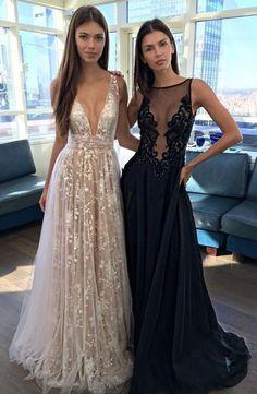 A Line Champagne Prom Dresses,Prom Dresses,V-neck Evening Dresses,Sexy