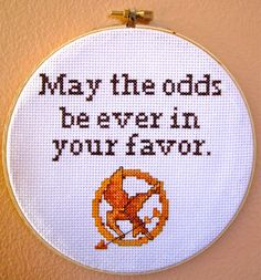 """""""May the odds be ever in your favor."""" - Hunger Games Cross Stitch by BananyaStand on Etsy"""