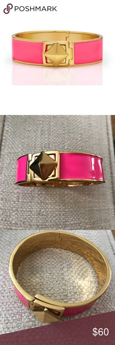 Kate Spade Locked In Hinged Pink Gold Bracelet Kate Spade Locked In  Green Enamel Bracelet with Iconic Pyramid Clasp mint condition   DESCRIPTION  we dressed up this classic green band with a 12k gold turn lock pyramid stud and hinged closure. the gold-plated stud and trim set a shimmering look that goes uptown or downtown with ease.   size weight: 63g inside measures: 2.25'' x 2'' 16mm width features shiny 12-karat gold plated hardware and shiny green enamel plated metal details…