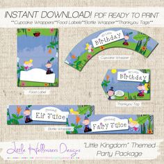 """INSTANT DOWNLOAD """"Little Kingdom"""" Themed Party Printables - Bottle Wrapper, Cupcake Wrappers, Food Labels and Thankyou Tags on Etsy, $10.00 AUD"""